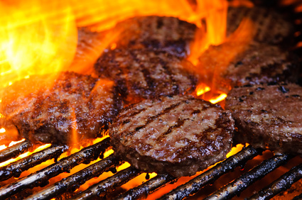 Burgers on a grill